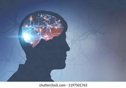 Silhouette of man head with glowing synapses in brain over light blue background with synapses on it. Concept of medicine and science. 3d rendering toned image double exposure mock up