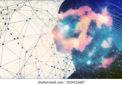 Silhouette of a man head. Scientific medical design. Double exposure. Universe filled with stars.