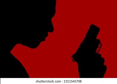 Silhouette man with machine gun, red background