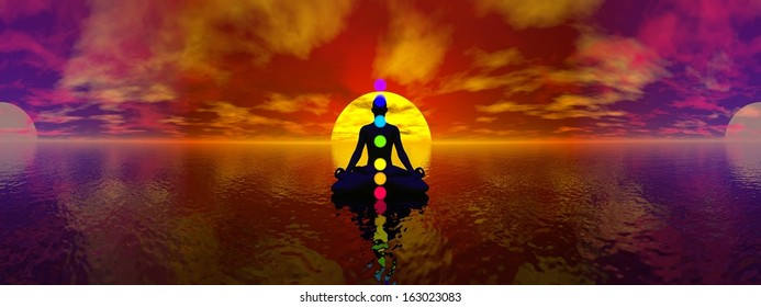 Silhouette of a man meditating with seven colorful chakras upon ocean by blue light, 360 degrees panoramic effect