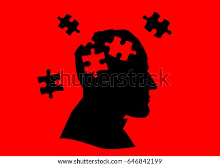 silhouette man mental illness stock illustration 646842199