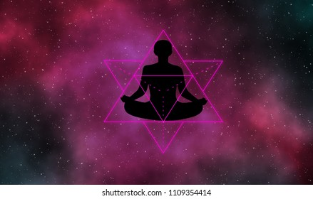 Silhouette man and merkaba on galaxy illustration  background.