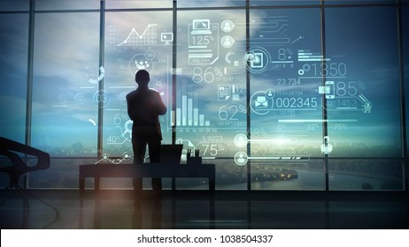 Silhouette of the man in the office and corporate infographic