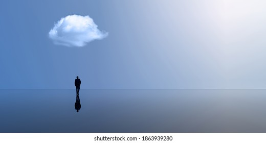 Silhouette of a man on the horizon. Reflection. Large space and cloud. Loneliness. 3d render