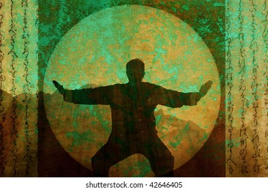 Silhouette of a man practicing Tai Chi in the desert morning. Photo based mixed medium illustration.
