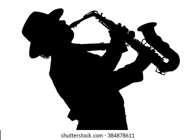 Silhouette of a man with a saxophone. Saxophonist. Isolated on white background.