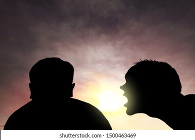 Silhouette of a man shouting into the ear of another man in a dramatic atmosphere for the concept: Toxic friendship environment.
