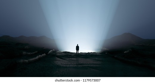 Silhouette Man Standing on the Bright Supernatural, Miraculous Gateway edge. 3d rendering illustration. Psychological Concept. Stress, unhappy, sadness, negative symbol mood conceptual.