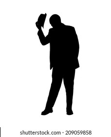 Silhouette of a man in a suit tipping his hat and bowing his head in a gesture of respect isolated on white.