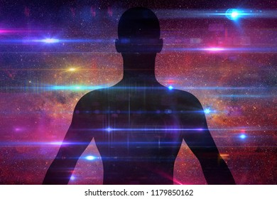 Silhouette of man with universe background