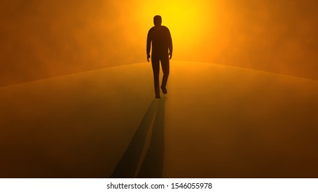 Silhouette of man walking in fog, after life plane. Glowing orange sunset , sunrise . 3d render