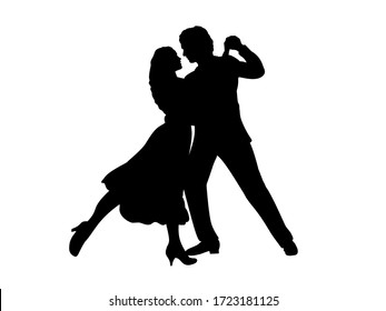 Silhouette of man and woman in dance. Symbol illustration icon