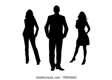 Silhouette of the man and women. The man the leader. It is isolated on a white background