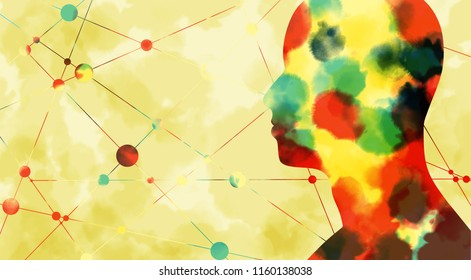 Silhouette of a man's head. Mental health relative brochure, report design template. Scientific medical designs. Connected lines with dots. Watercolor sketch effect