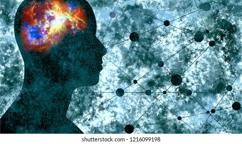 Silhouette of a man's head. Mental health relative brochure, report design. Scientific medical designs. Grunge brush drawing. Universe as brains. Elements of this image furnished by NASA