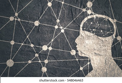 Silhouette of a man's head. Mental health relative brochure, report or flyer design template. Scientific medical designs. Connected lines with dots. Grunge texture
