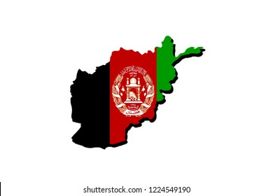 Silhouette of the map of Afghanistan with its flag