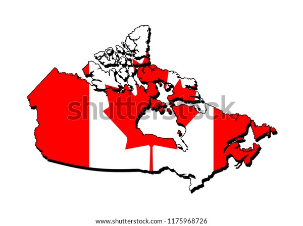 Map Of Canada Silhouette.Silhouette Map Canada Flag Stock Illustration 1175968726