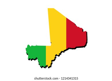 Silhouette of the map of mali with its flag