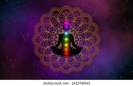 Silhouette of meditation man with seven chakras glow up on gold mandala with the beautiful of galaxy space on background.