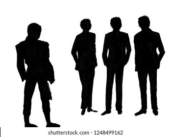 silhouette of men on the catwalk, contour of the model, hand in trousers