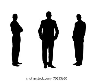 Silhouette of the men. Various poses. Uncurl hair. It is isolated on a white background