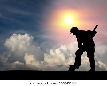 Silhouette of a miner digging a hole with his spade against a surreal sky between day and night for the concept of hard at work quarrying the earth.