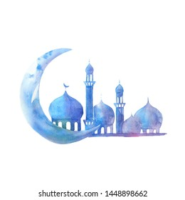 Silhouette of Mosque with minarets and moon on watercolor background. Illustration for Muslim holiday.