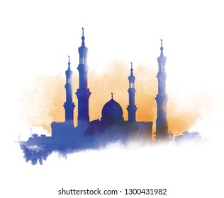 The silhouette of the mosque with minarets on a watercolor background. Islamic Muslim holiday. watercolor sunset month Ramadan Kareem.