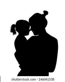 silhouette mother with a baby. Raster