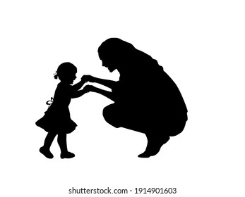 Silhouette mother holding little daughte by hands. Illustration symbol icon