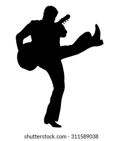 Silhouette of a musician artist kicking his leg straight up with a guitar in the image of Elvis isolated on a white background.