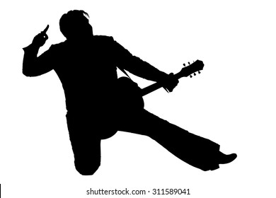 Silhouette of a musician artist kneeling with a guitar in the image of Elvis isolated on a white background.