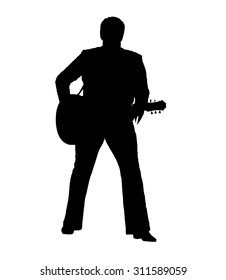 Silhouette of a musician artist standing straight with a guitar in the image of Elvis isolated on a white background.