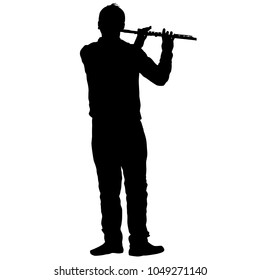 Silhouette of musician playing the flute on a white background