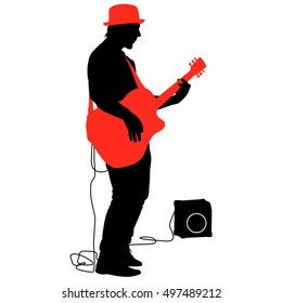 Silhouette musician plays the guitar. illustration.