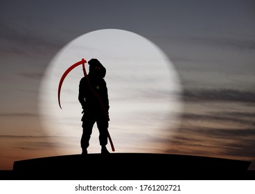 Silhouette of the mysterious Grim Reaper bearing a deadly scythe against a dystopian skyline for Halloween concept.