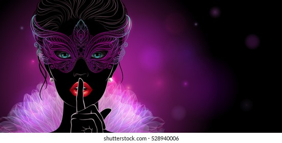 Silhouette of a mysterious lady in carnival mask, she put a finger on lips in a hush gesture. Beautiful concept design for greeting card, party invitation, banner or flyer.