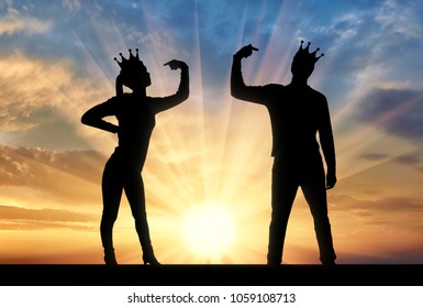 Silhouette of a narcissistic woman and a man with a crown on her head shows each finger on herself. Everyone is trying to draw attention to himself. Concept of narcissism and selfishness in society