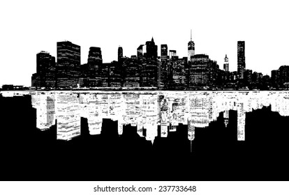 Silhouette of New York skyline.