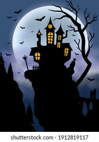 silhouette night scary castle dracula
