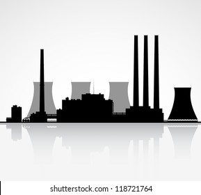 Silhouette of a nuclear power plant. Raster illustration.