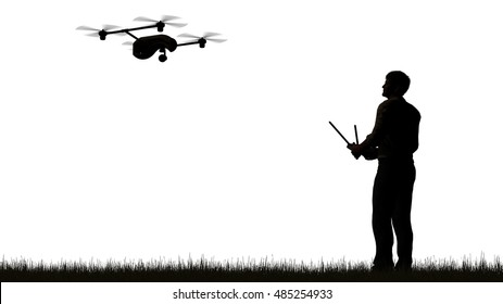 silhouette of one man operating a flying drone  UAV - using a controller -  isolated on white - 3D rendering