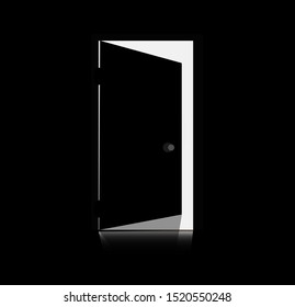 Silhouette of opened door - a view from a dark room