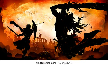 Silhouette of an Orc with a long curved sword with notches in a ragged cloak with long hair, jumping to attack in an epic pose, on a knight with a shield and a sword . Against an orange sunset.