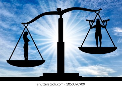 Silhouette of an ordinary woman on the scales of justice in priority over a selfish woman with a crown on her head. The concept of egoism as a problem in a normal society