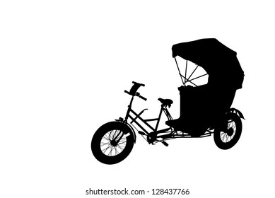 Silhouette of an oriental rickshaw cab, isolated against white.