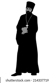 Silhouette of an Orthodox priest on white background