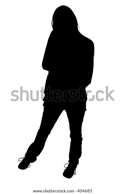 Silhouette over white with clipping path. Woman standing.