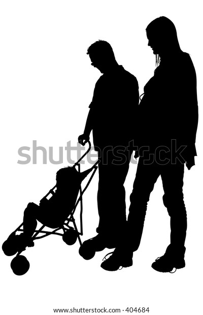 Silhouette over white with clipping path. Mom and Dad with Stroller.